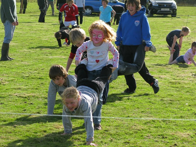 Wheel-barrow race at Yetholm Show.